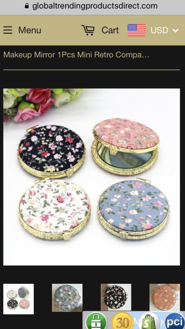 Makeup Mirror 1Pcs Mini Retro Compact Pocket Flower
