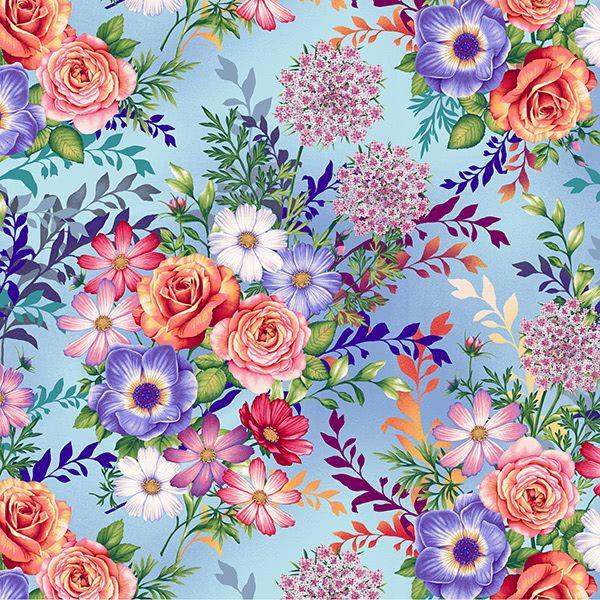 Henry Glass Botanical Blooms Sky Blue Mixed Flower Bouquet
