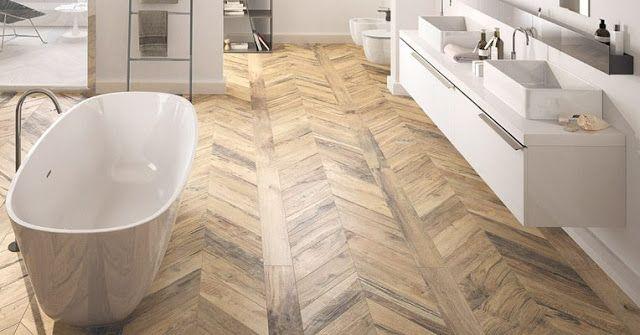 Herringbone Wood Look Tile Bathroom Floor