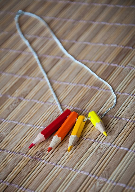 Pencil necklace   necklace with rainbow of true by SilviaWithLove, €7.50