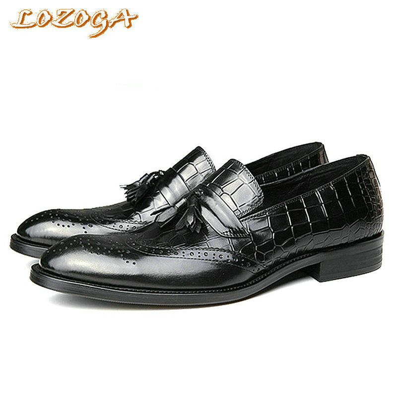 New Mens Shoes Italian Style Luxury Handmade Shoes Brogues Genuine Leather  Shoes Men Carved Pointed Toe