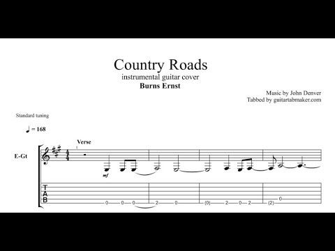 Country Roads instrumental guitar tabs (easy) - pdf guitar sheet ...