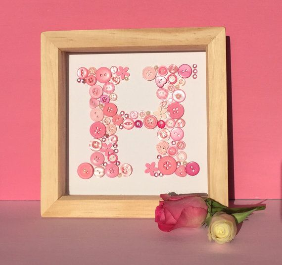 Personalised button initial artwork framed button letter art | Girl ...