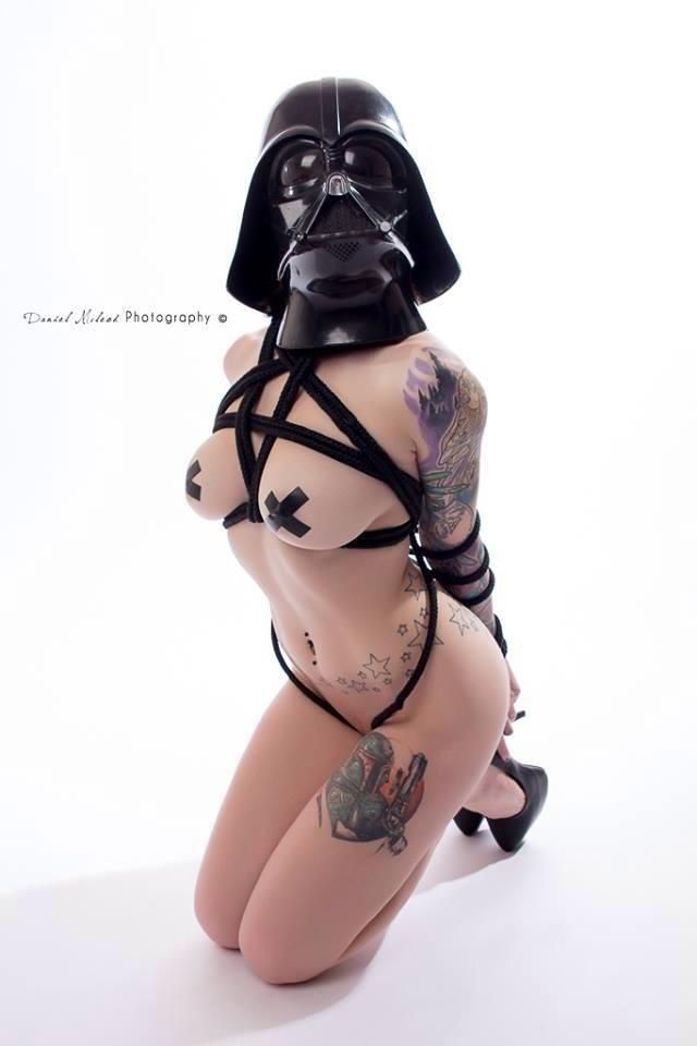 Naked emo chick on knees
