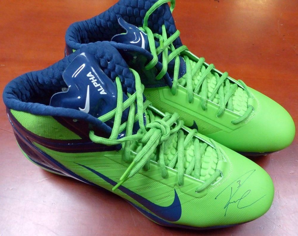 8462ba826b7 RUSSELL WILSON AUTOGRAPHED SIGNED NIKE CLEATS SHOES SEATTLE SEAHAWKS RW  HOLO Comes fully certified with Certificate of Authenticity and  tamper-evident ...