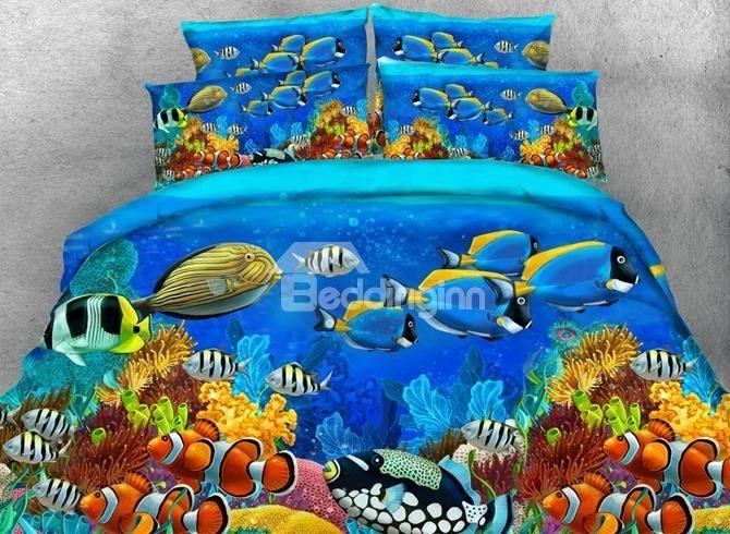 Splendid 3d Fish Aquarium Printed 4 Piece Duvet Cover Sets