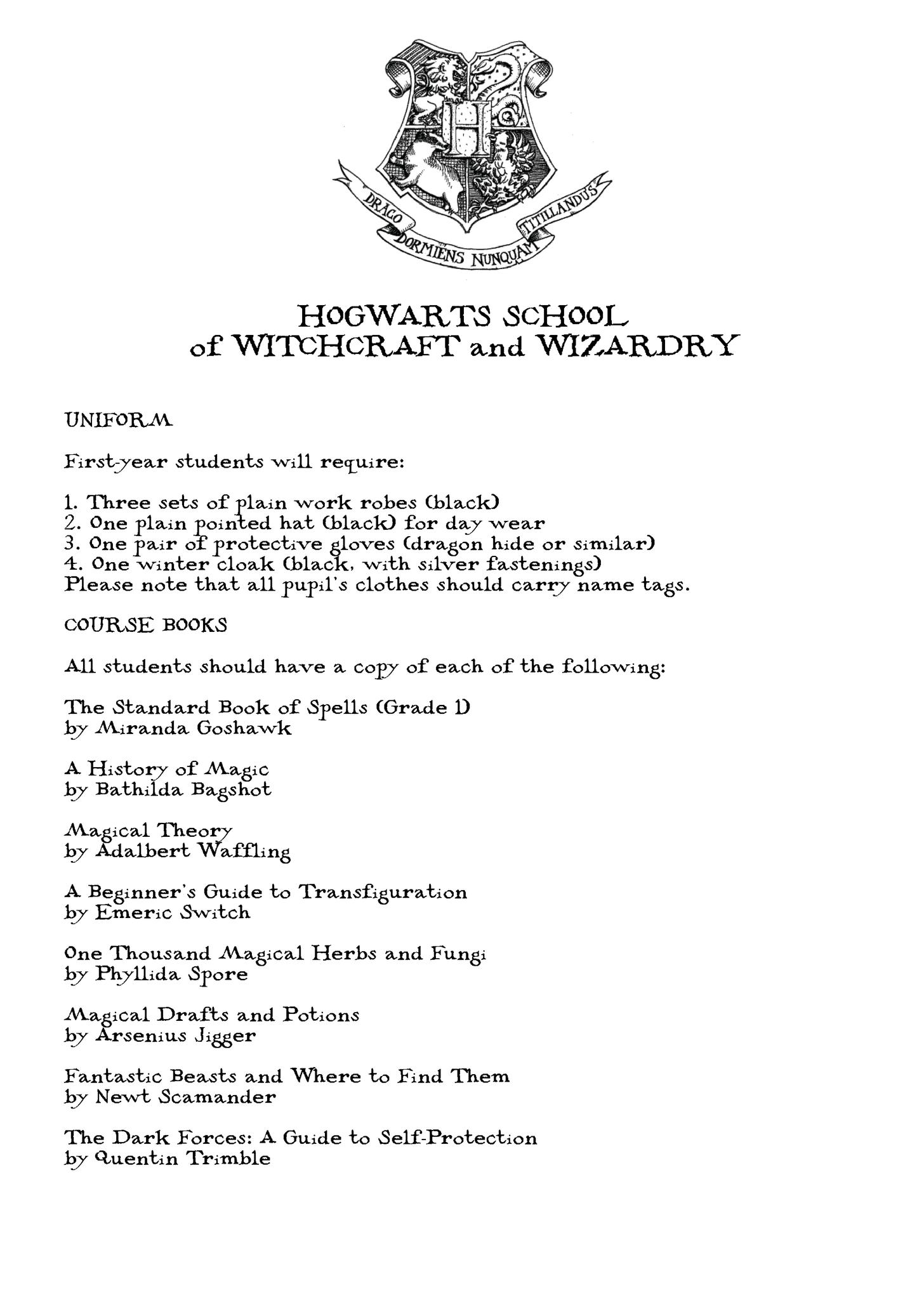 harry potter hogwarts acceptance letter