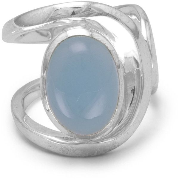 Chalcedony Ring with Open Band (98 CAD) ❤ liked on Polyvore featuring jewelry, rings, blue jewelry, blue chalcedony jewelry, chalcedony jewelry, blue ring and blue chalcedony ring