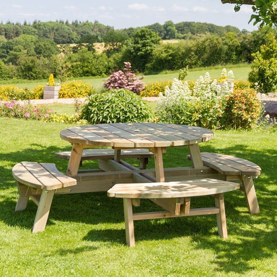 8 Seater Round Picnic Table Natural Colour Wooden Garden Outdoor Lawn Furniture