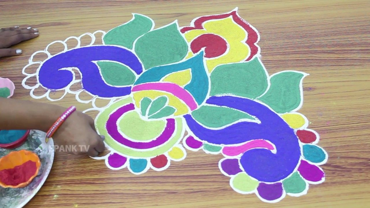 Simple Rangoli Designs With 100% Color Telugu Muggulu ...