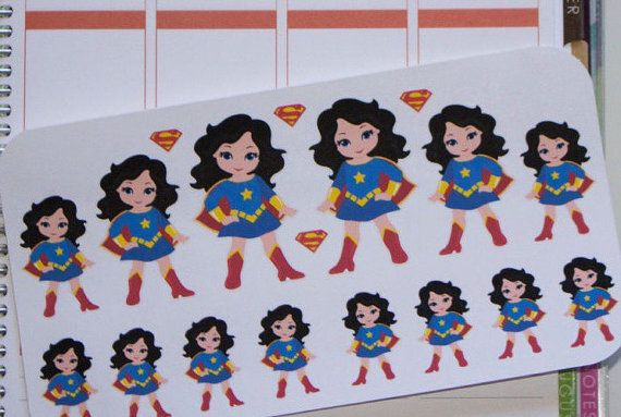 Super Girl stickers for Erin Condren Planner by hellostickers