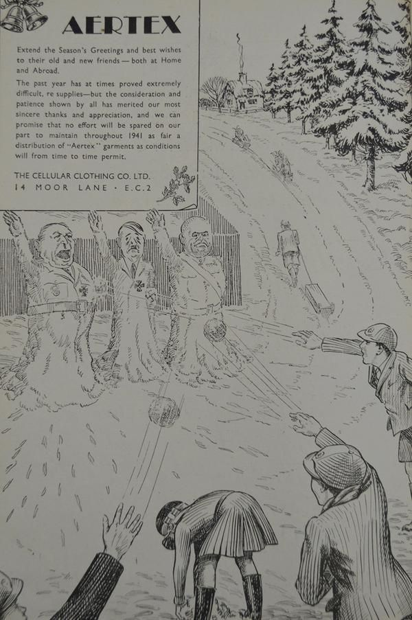 A wartime Christmas ad by Aertex in the  December 21, 1940 issue of Drapers Magazine
