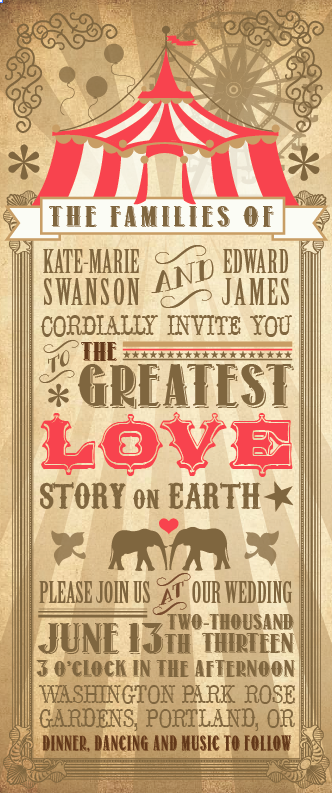 Circus Themed Wedding Invitations Someday My Prince Will Come