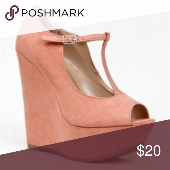 7625928fa44 Breckelle s Pastel Pink Peep Toe High Wedges Chic and cute little wedges  with faux suede pastel pink color. Perfect spring shoes with some elevation.