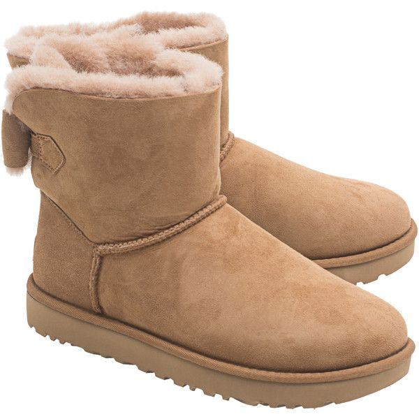 6f82cbb5773 UGG Naveah Chestnut // Short shearling boots with bow ($225 ...