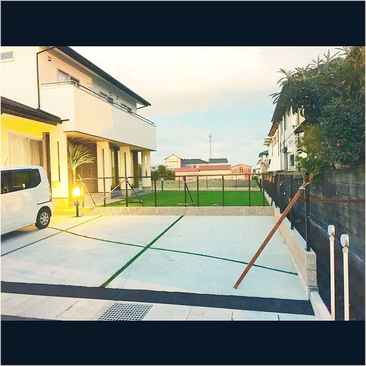 部屋全体 ウッドフェンス作成中 外構工事中 マイホーム記録 人工芝の庭