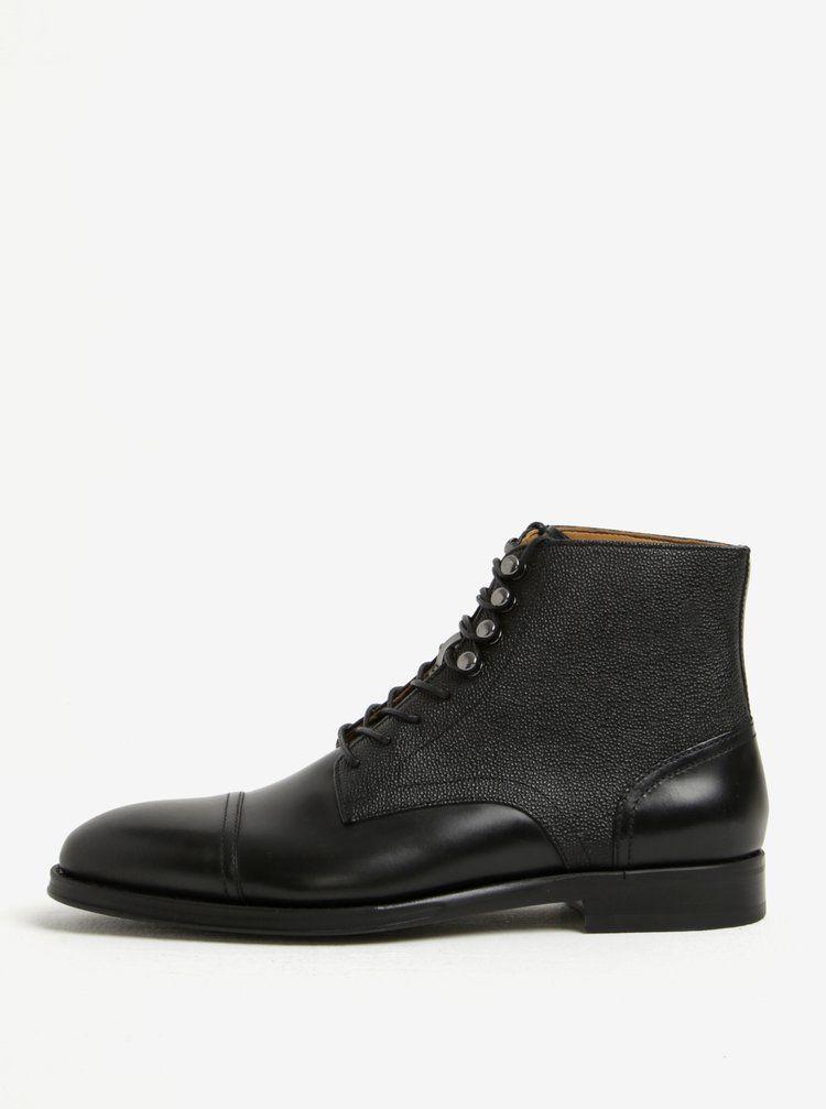 c6ca752a9a Černé pánské kožené kotníkové boty ALDO Semaj