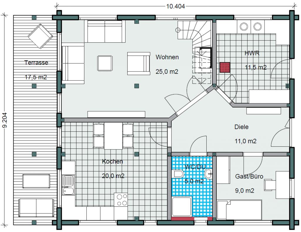 Honka einfamilienhaus modell peak erdgeschoss grundriss in der k che noch abstellraum und - Wohnzimmer grundriss ...