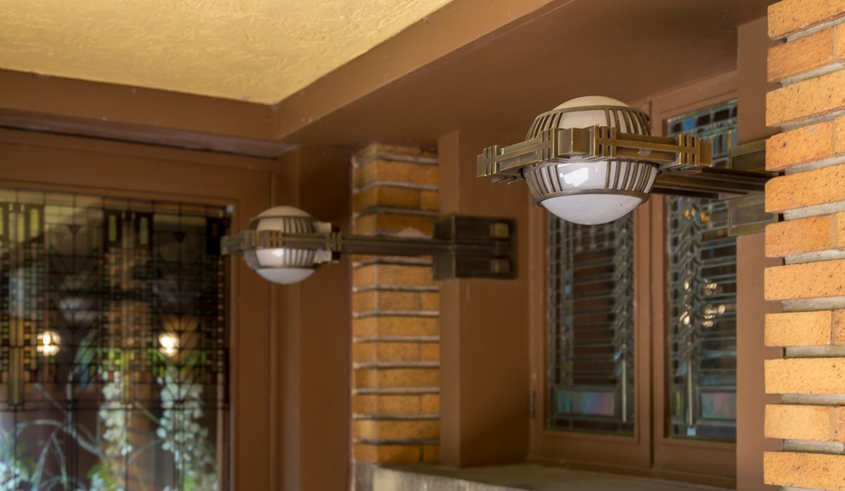 Modern but antique lights at the darwin martin house there posts exterior lighting fixtures at the frank lloyd wright designed and built darwin martin house in buffalo ny the arubaitofo Images