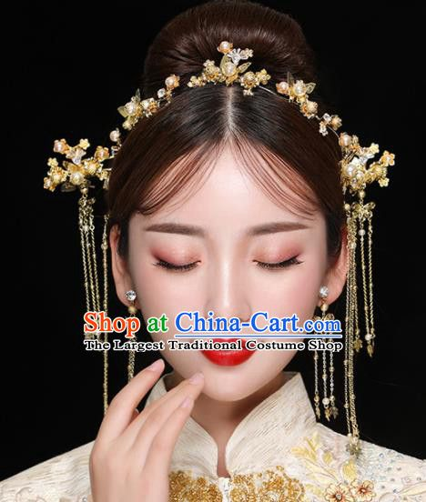 6445a7b87 Chinese Ancient Handmade Golden Hair Clasp Bride Hairpins Traditional  Classical Wedding Hair Accessories for Women