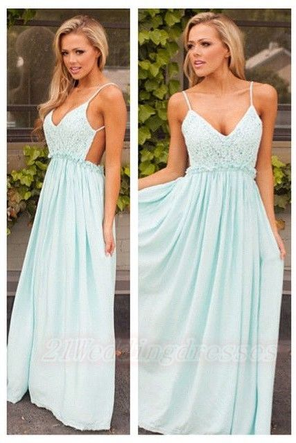 Charming Backless Simple Cheap Prom Dresses With Spaghetti Straps http://21weddingdresses.storenvy.com/products/16889322-charming-backless-simple-cheap-prom-dresses-with-spaghetti-straps
