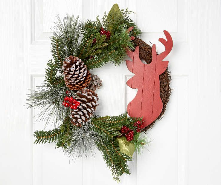 "Stag Head Twig Half Wreath, (18"") at Big Lots."