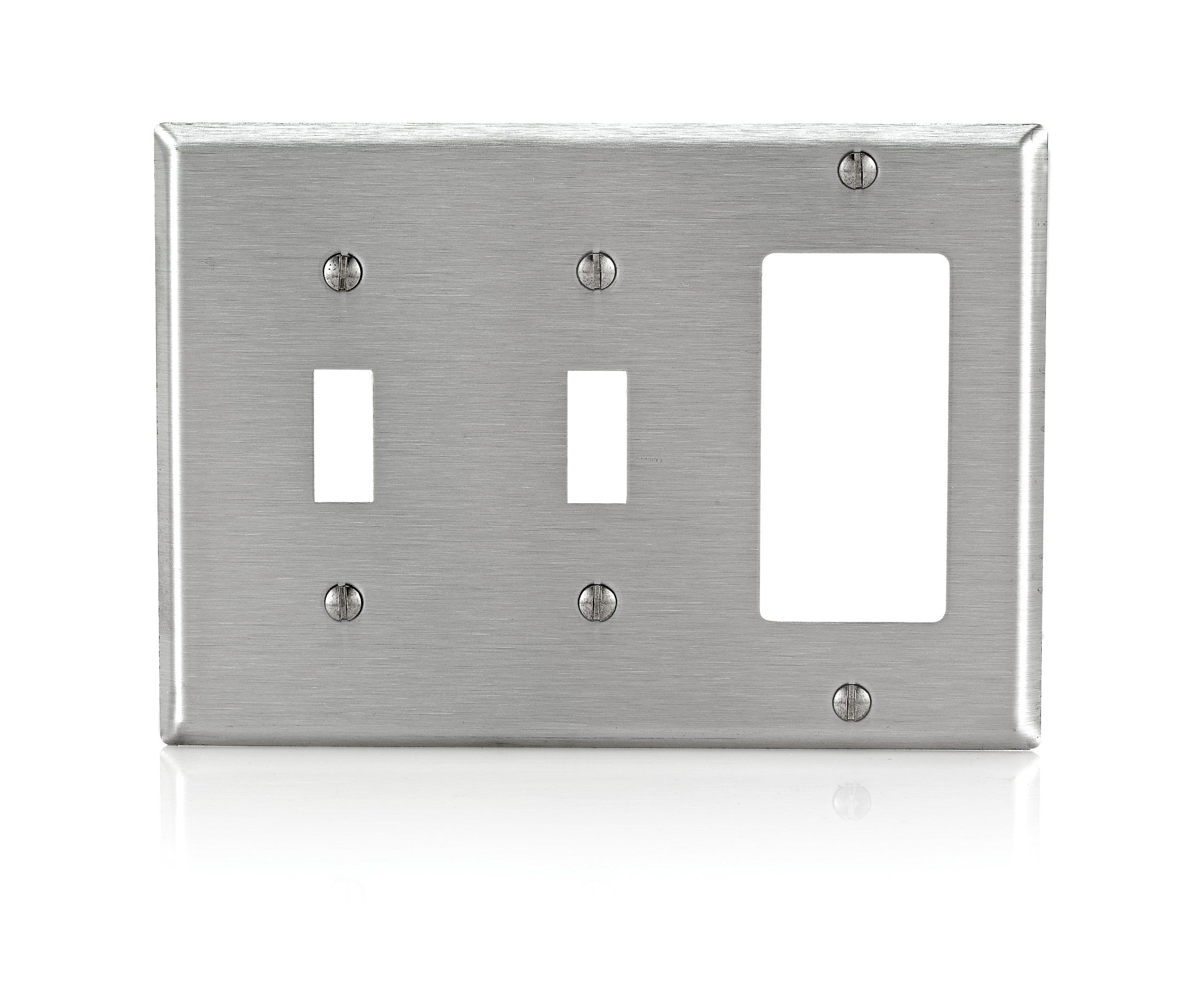 Leviton 84421 40 3 Gang 2 Toggle Decora Gfci Device Combination Wallplate Stainless Steel Read More Reviews Of In 2020 Plates On Wall Leviton Outdoor Weatherproof