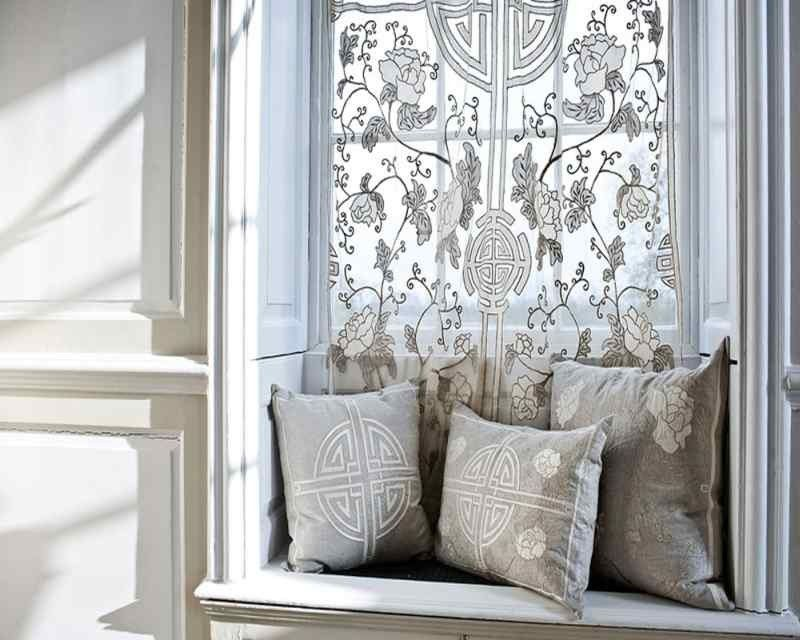 Shanghai Sheer Net Art Deco Style Curtain Panel and matching pillows ...