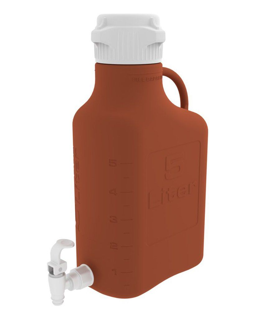 5l 1 Gal Amber Hdpe Carboy With 83b Cap And Spigot Bottle Container Easy Cleaning
