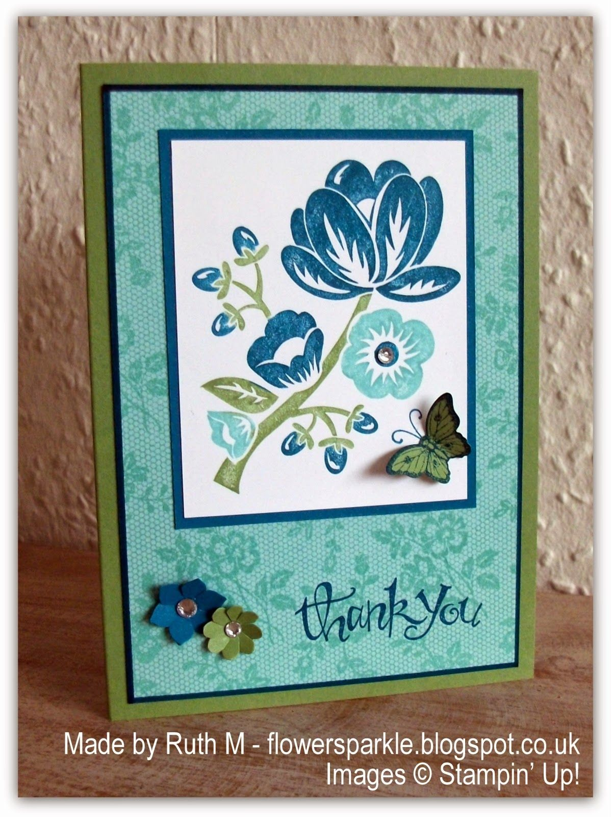 Flower Sparkle: Two SU! 'I Love Lace' Thank You Cards