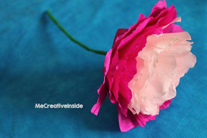 tutorial diy peonia di carta crespa festa della mamma ME creativeinside