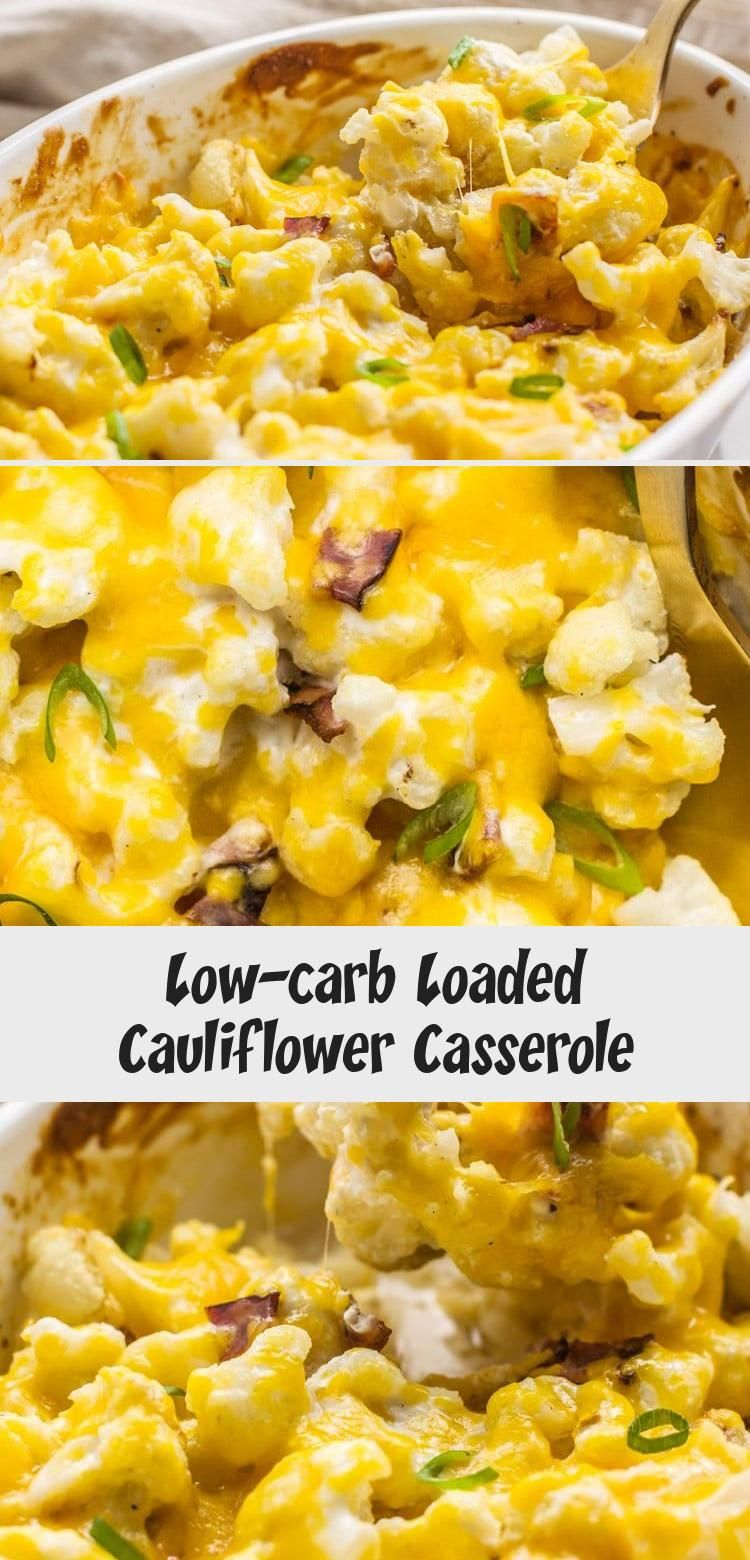 Get all the flavor you crave from loaded baked potatoes in a Keto-friendly recipe with this Low-Carb Loaded Cauliflower Casserole. Healthy and delicious! # #loadedcauliflowerbake