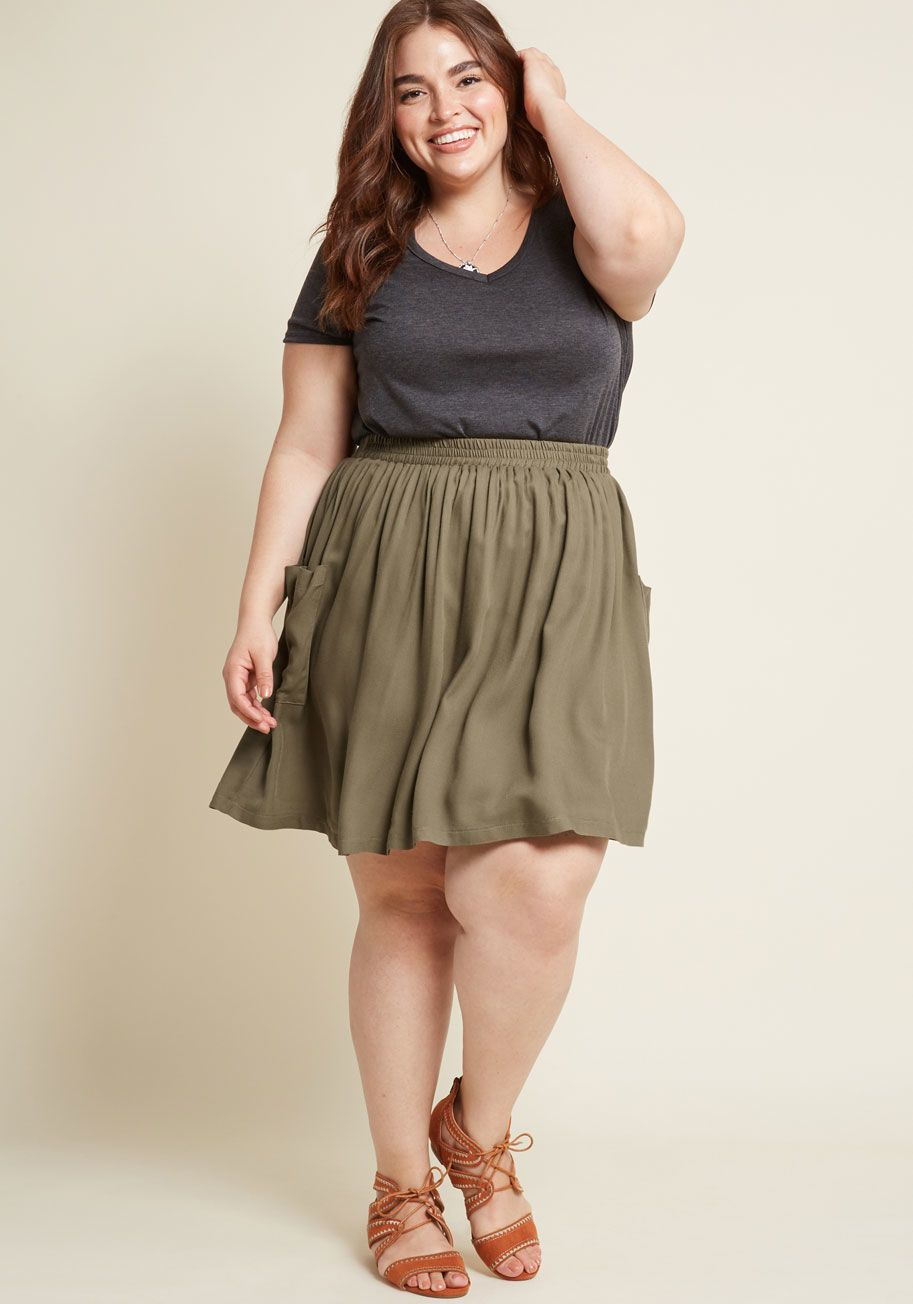 9136891406f42 Staycation Kickoff Pocketed Skirt in Olive in 2019