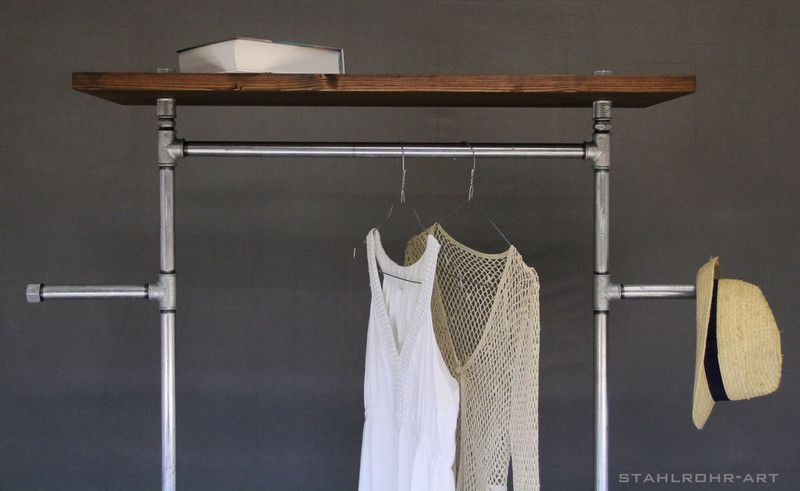 garderobe kleiderstange industriestyle zink von stahlrohr art garderoben von stahlrohr art. Black Bedroom Furniture Sets. Home Design Ideas