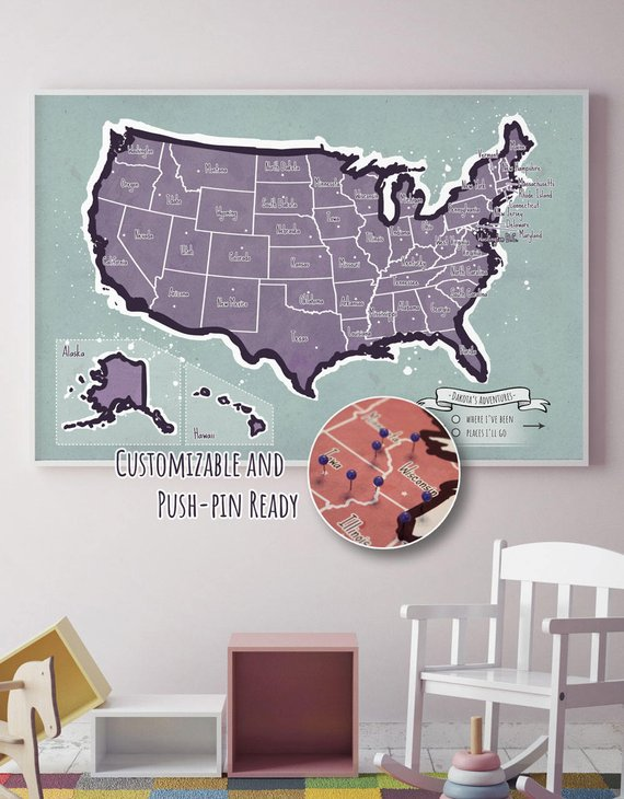 Personalized Usa Map.Usa Map For Kids Personalized Push Pin Adventure Map Travel Map
