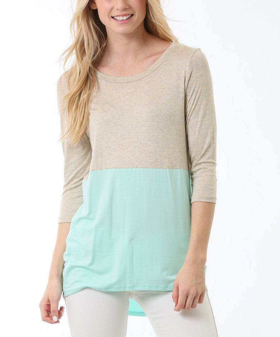 Look at this Flamingo Urbane Oatmeal & Mint Tunic on #zulily today!
