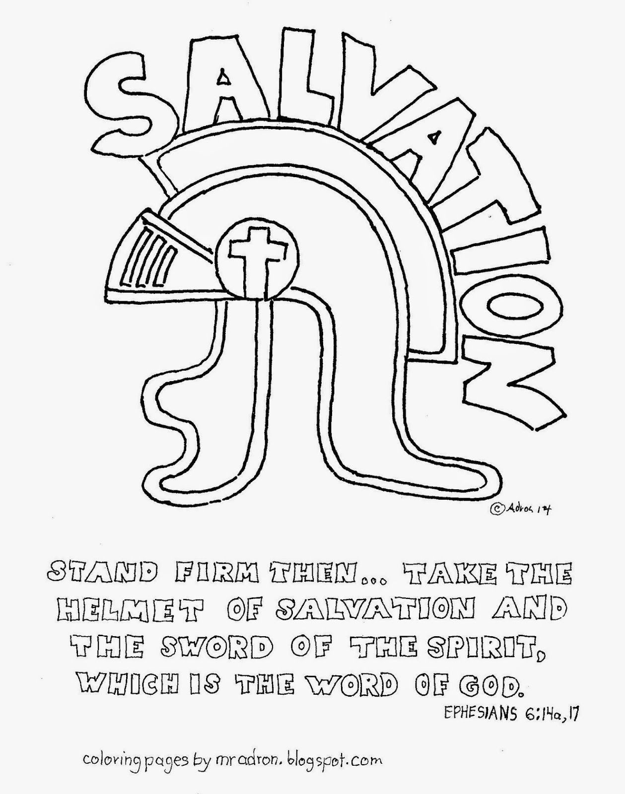 The Helmet Of Salvation Free Coloring Page Ephesians 6:17