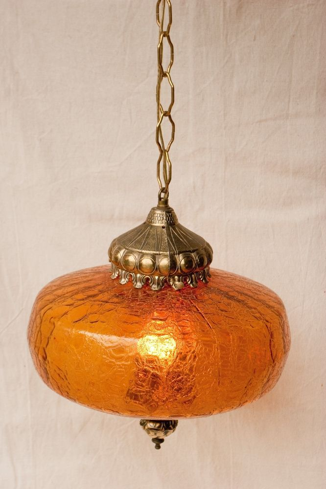 retro vintage amber crackle glass hanging swag lamp ceiling light fixture vgc