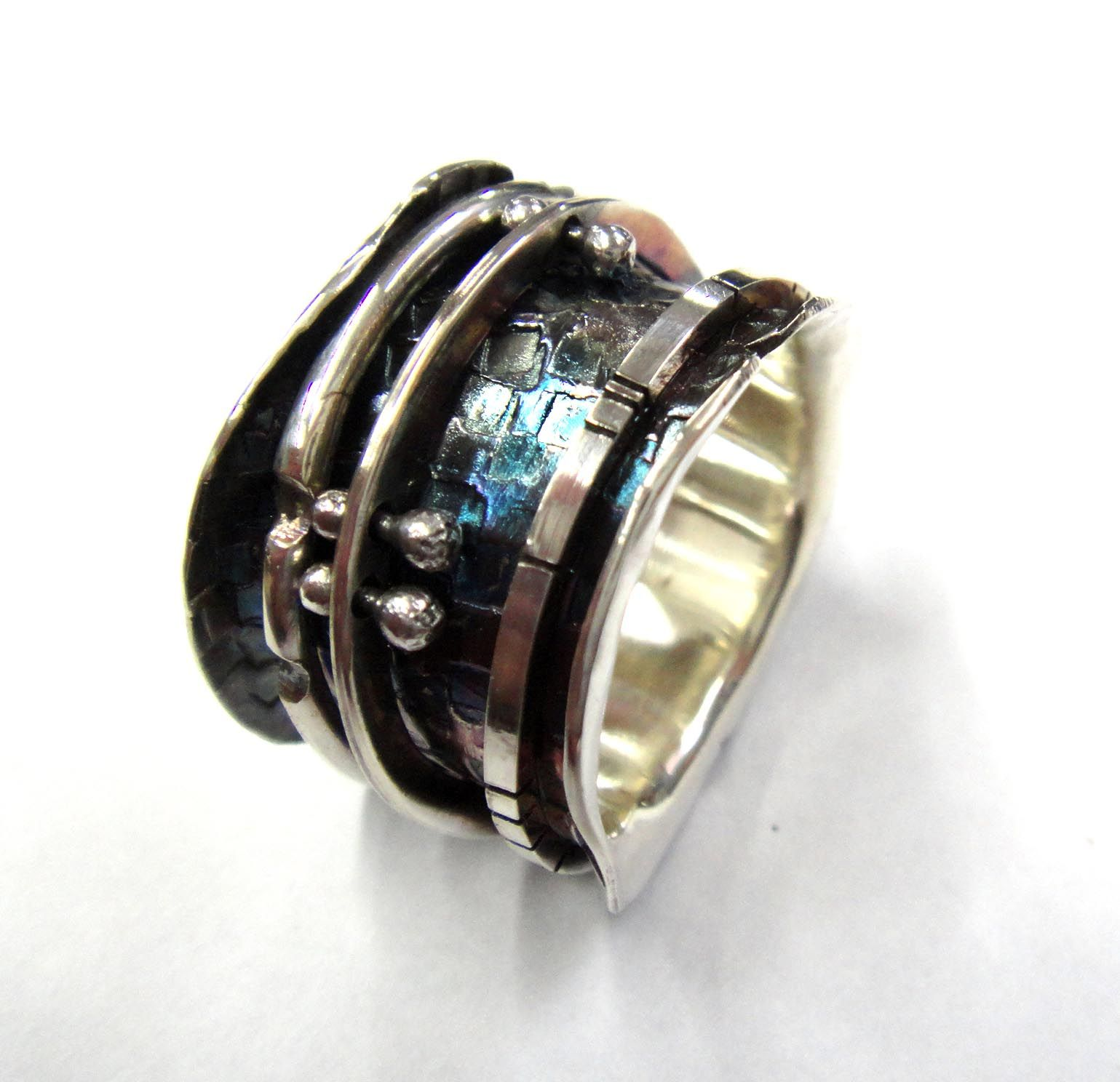 Robyn Cornelius Spinner Ring Sterling Silver Liver of Sulfur