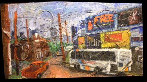"Contemporary Painting - ""East Atlanta Village"" (Original Art from fred budin)"