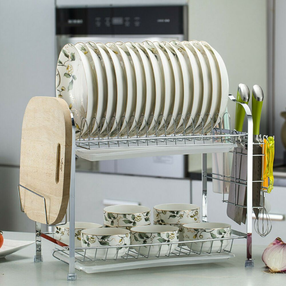 2tier dish drying rack organizer home kitchen collection