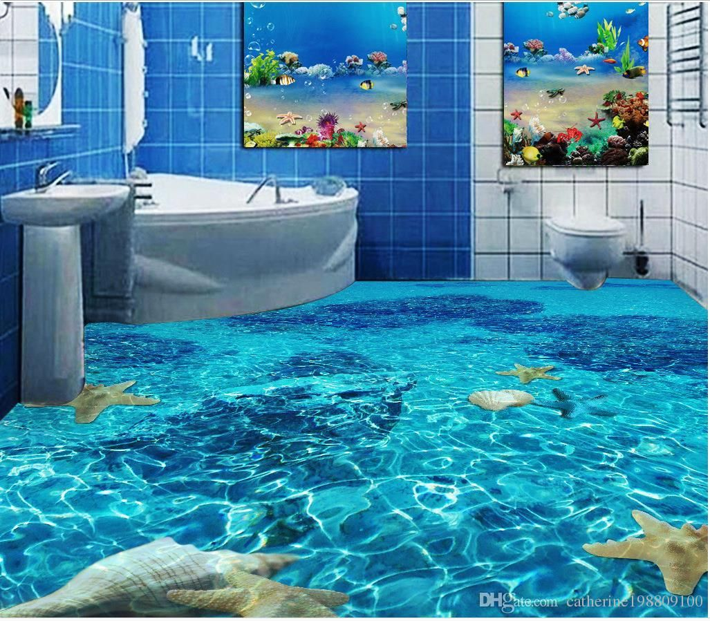 Classic Home Decor Seawater Toilet Bathroom Bedroom 3d Floor Floor Wallpaper 3d For Bathrooms Floor Wallpaper Floor Murals Flooring