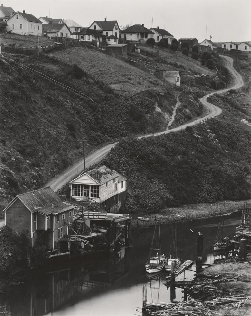 Aug 8, 1937 Albion [houses by inlet, dirt road up coastal hill] by Edward Weston