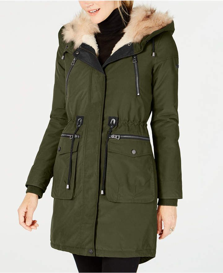 c44c5266ea257 Lucky Brand Faux-Fur-Lined Multi-Pocket Anorak
