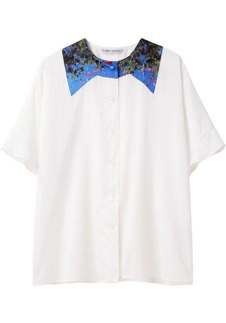 cotton silk satin top with print   by tsumori chisato.
