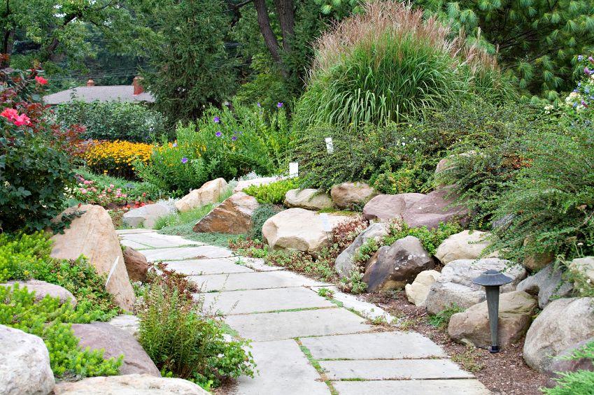 Cottage Garten Wegrand Mit Steinen