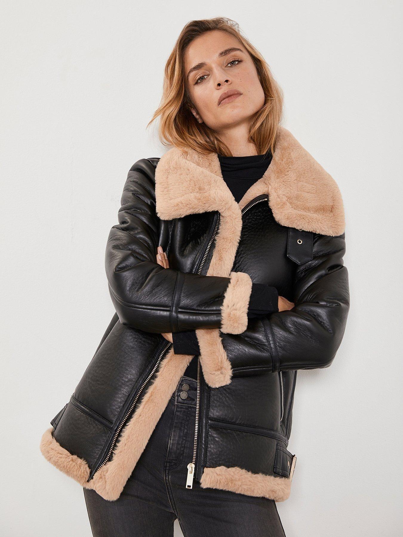 Mint Velvet Faux Fur Collar Aviator Jacket Chocolate