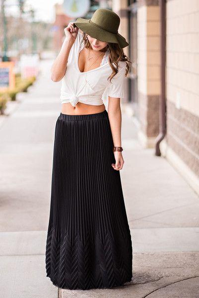 65aa95b7547 Chevron Embossed Pleated Maxi Skirt (Black)  urban  love  womensfashion