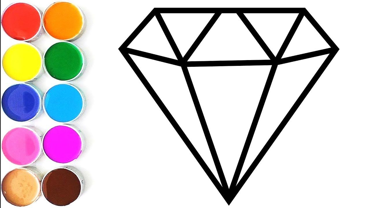 How to Draw Diamond for Baby | Drawing and Coloring Book for ...