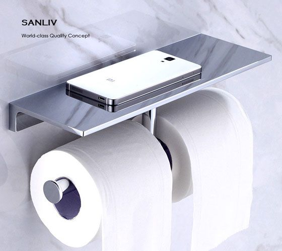 Hotel luxury collection double roll toilet paper holder for Loo roll storage